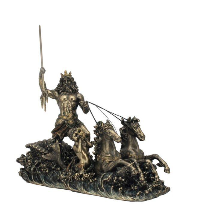 Poseidon God of the Sea on Hippocampus Chariot  Greek Statue Horses Sculpture