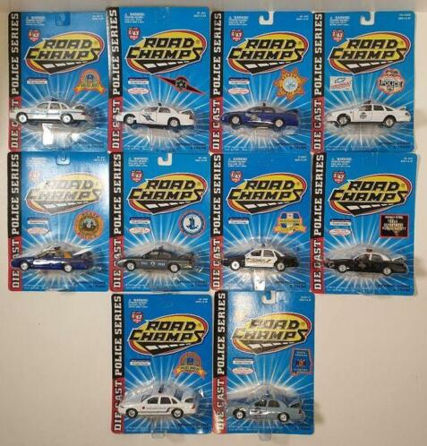 Road Champs - 1:43 - Lot de 10 Voitures de Police - Collect