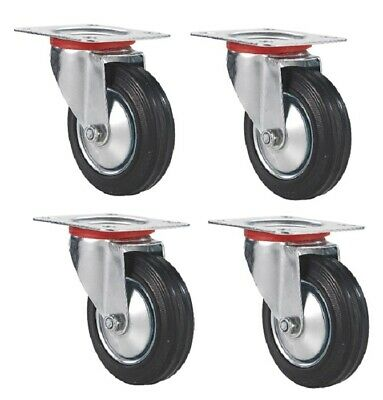 4 Pack 3 Swivel Caster Rubber Wheels Top Plate Bearing Heavy Duty Free Shipping