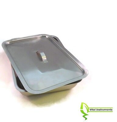 Large Instrument Tray Lid Stainless Tattoopiercing Surgical Medical 12x8x2