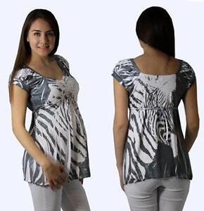 Cute-gray-Zebra-stripe-maternity-top-S-M-L-XL
