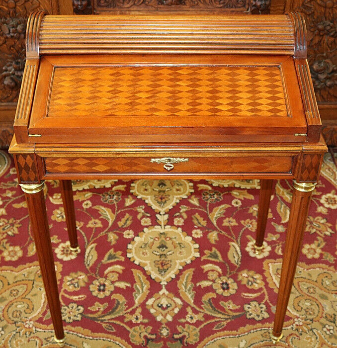 Petite French Style Walnut Inlaid Roll Top Ladies Desk With Green Leather