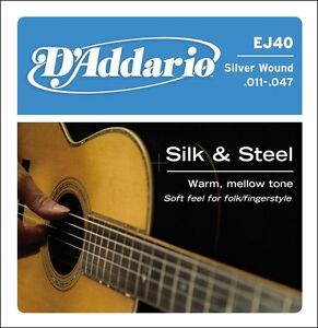 D'Addario EJ40 Silk and Steel Ball End Acoustic Folk Guitar Strings 11 - 47