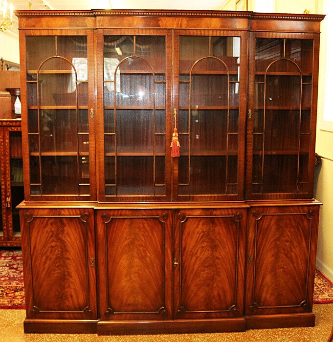 Incredible English Flame Mahogany Breakfront Bookcase Cabinet By Bevan Funnell