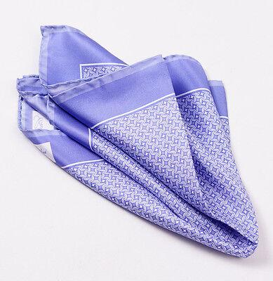 New CESARE ATTOLINI NAPOLI Lavender Purple Star-Diamond Print Silk Pocket Square