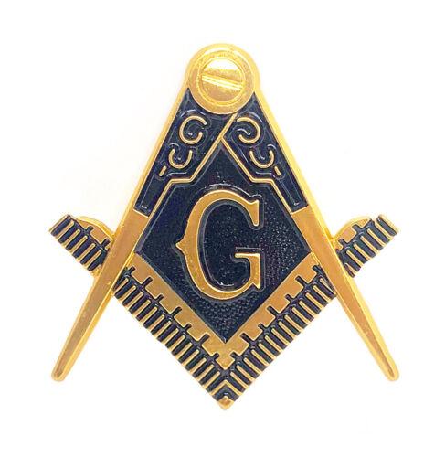 "Masonic cut to shape 2 1/2"" car emblem gold and blue color #CMB"