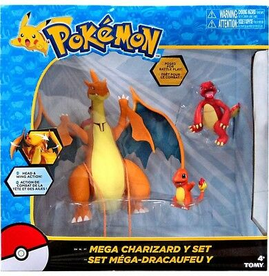 Pokemon Mega Charizard Y Figure 3-Pack Set