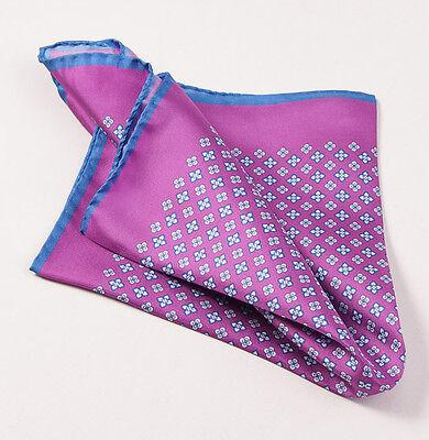 New $215 KITON NAPOLI Purple-Blue Small Floral Medallion Silk Pocket Square