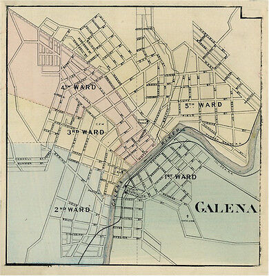 Galena IL Jo Daviess  Illinois 1876  Map Genealogy