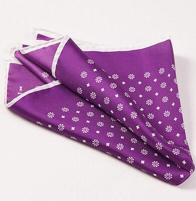 New $215 KITON NAPOLI Plum Purple-White Floral Medallion Silk Pocket Square