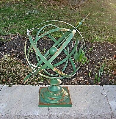 "14""Diameter  Iron Armillary Sphere/Sundial Rustic Antique Green"