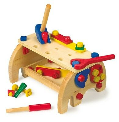 Werkbank Elefant Holz Werkzeug Klopfbank Kinderwerkbank Spielzeug für Kinder Neu