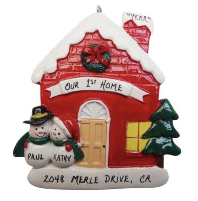 Personalized New House Home Snowman Couple Christmas Ornament