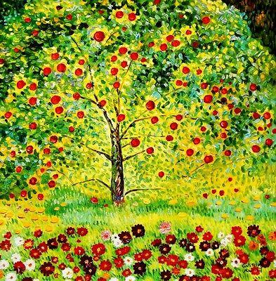 Gustav Klimt - Der Apfelbaum h92050 90x90cm bemerkenswertes Ölgemälde handgemalt