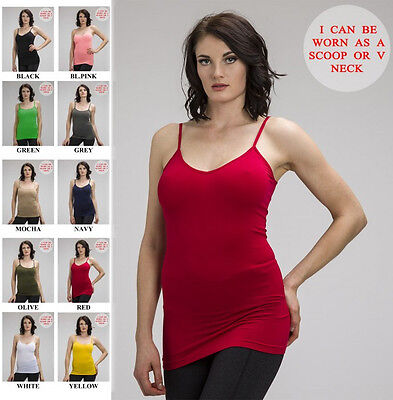 Stretch V-neck Camisole - 2 WAY SCOOP & V NECK PLAIN LONG SPAGHETTI ADJUSTBLE STRAP STRETCH TANK TOP CAMI
