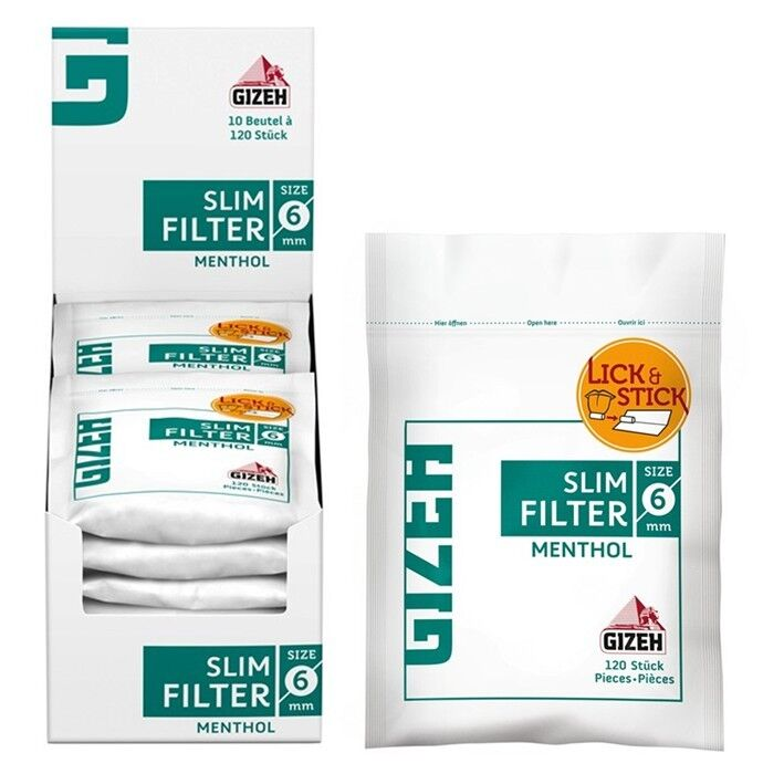 10 x 120er GIZEH MENTHOL Slim Filter 6mm Beutel Drehfilter Eindrehfilter