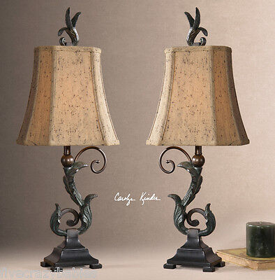 - Gorgeous BRONZE SCROLL Buffet Lamp PAIR Old World Antique Black Table Set 2