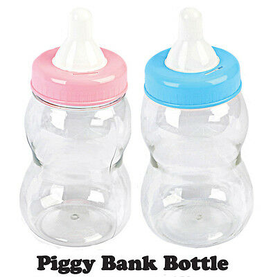 BIG LARGE JUMBO Fillable Bottle Baby Shower Favors Decor Blue Pink Bank - Baby Shower Bottle
