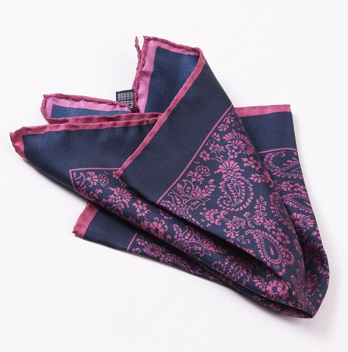 New CESARE ATTOLINI NAPOLI Pink-Navy Blue Paisley Print Silk Pocket Square