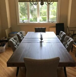 Large Rustic Expandable Dining Room Table Farmhouse Design Country Style 8  Seat