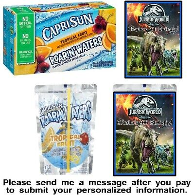 T Rex Party Supplies (12 Jurassic World Park Birthday Party Capri Sun Stickers Labels T-Rex)