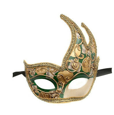 Mask from Venice Wolf Colombine Swan Musica Green Authentic Venetian 421