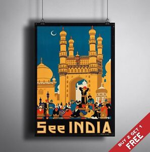 A3 Large India Poster Vintage Retro Travel Wall Art Home Decor City Life Picture Ebay