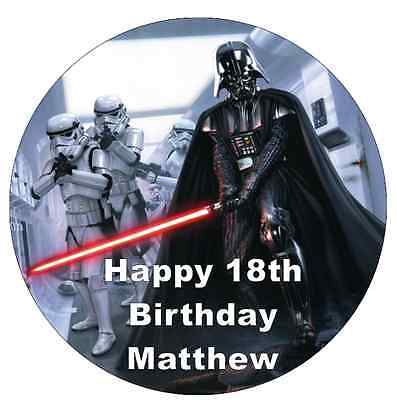"""Star Wars Darth Vader Personalised Cake Topper 7.5"""" Edible Wafer Paper"""