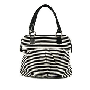 Black and White Stripe Satchel Purse Handbag Tote Bag Purple Interior Zipper Top
