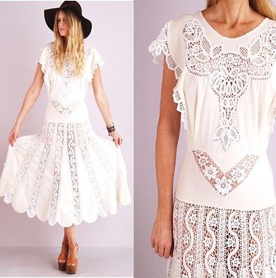 Vtg Nude CROCHET SCALLOP Nouveau Lace SHEER CUTOUT Hippie Wedding Midi DRESS on Rummage