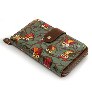 Ladies Women Vintage Oil Cloth Owl Folded Zip Wallet Purse Handbag Clutch Bag