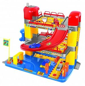 Kids, Childrens Junior Toy Garage, Three Levels with working Lift and Six Cars