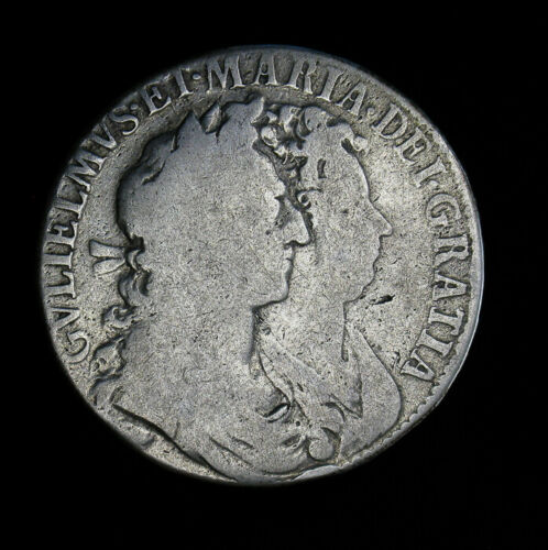 1689 Great Britain Half 1/2 Crown KM# 472.1 William & Mary England 1st Shield