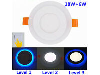New 18W+6W White+Blue White+Red Slim Recessed LED Panel Light Dual Colours 3 x Lighting Modes