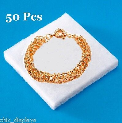 LOT OF 50 SYNTHETIC COTTON INSERTS for COTTON FILLED BOX COTTON PADS for JEWELRY