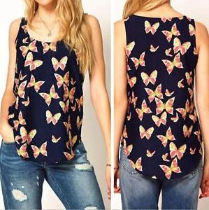 Damas-Para-mujeres-De-Gasa-Mariposa-de-impresion-Vest-Blusa-sin-mangas-Camiseta