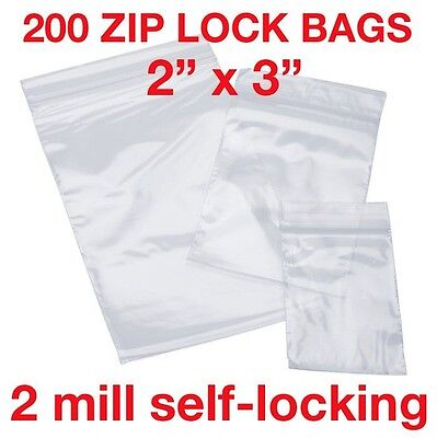 200 Piece 2 X 3 2mil Zip Lock Poly Reclosable Plastic Bags Clear Small Baggies