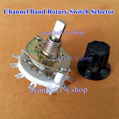 2p4t Channel Band Rotary Switch Selector 2 Pole 4 Position 1 Deck With Knob