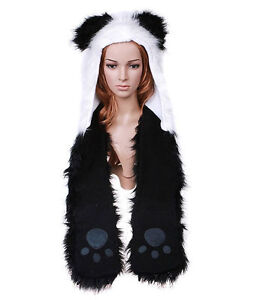Cartoon-Animal-Panda-Plush-Soft-Warm-Cap-Hat-Earmuff-Scarf-Black-and-White-H2774