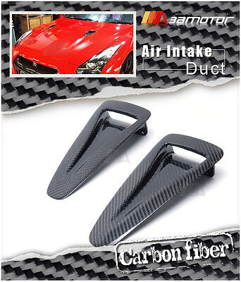 Carbon Fiber Hood Vents - Carbon Fiber Hood Vent Insert Air Intake Ducts for Nissan GT-R GTR R35 CBA DBA