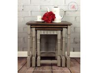 Vintage 'Oak' nest of tables/Old Charm/Hand painted/Grey/Shabby Chic