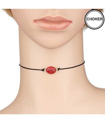 CHOKER Black Leatherette Cord Red Semi Precious Stone 12