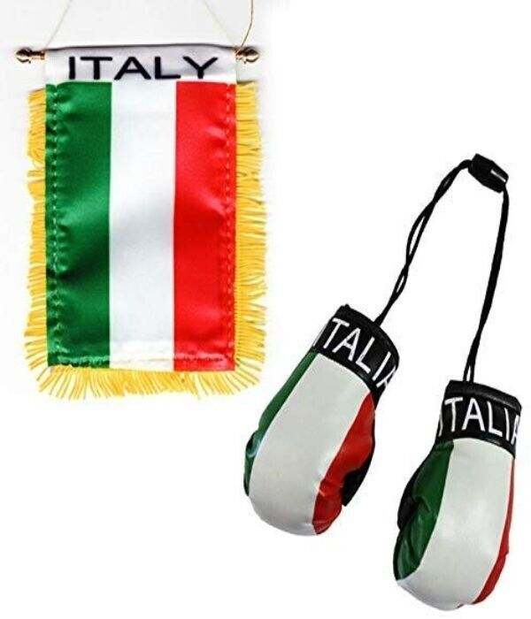 Italy Flag - Boxing Glove and Window Hanger Rearview Mirror Combo