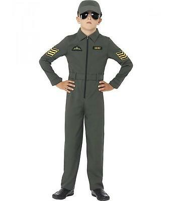 Boys TOPGUN Aviator Costume Pilot Jumpsuit Green Airforce S M L Kids Child - Air Force Costume