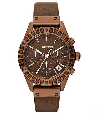 (DKNY 8654 WOMEN'S DRESS CRYSTALS ON BEZEL BROWN DIAL DATE BROWN LEATHER STRAP )
