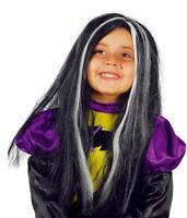 Peluca Infantil Para Bruja Con Mechas Blancas Niña Morticia Halloween -  - ebay.es