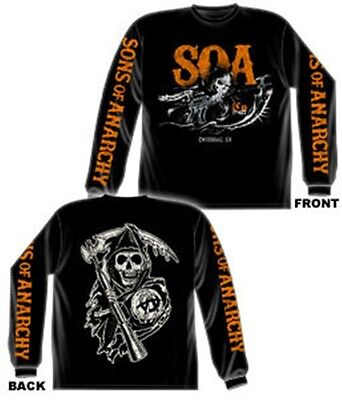 Sons Of Anarchy Charging Reaper Orange Print Black Long Sleeve T Shirt New