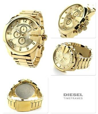 NEW DIESEL Mega Chief DZ4360 Gold-tone Stainless Steel Wrist Watch for Men