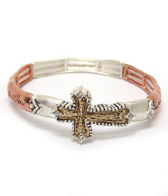 Serenity Prayer Rustic Cross AA AL-ANON Recovery Inspirational  3 Tone  Bracelet - Als Bracelet