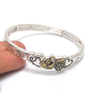 Religious Inspirational Message Stretch Bracelet Angel Blessing Hearts Crystals